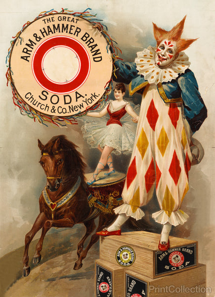 Clown, Horse, Acrobat and Arm & Hammer Brand Soda