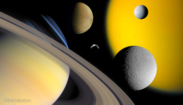Collage of Saturn and it's Moons