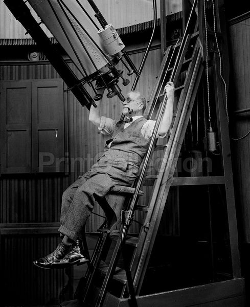 Comfortable, Astronomer David Todd with Telescope, 1924