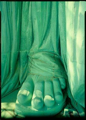 Detail of right foot, December 1985 'July IV. MDCCLXXVI,' March 1985, Statue of Liberty