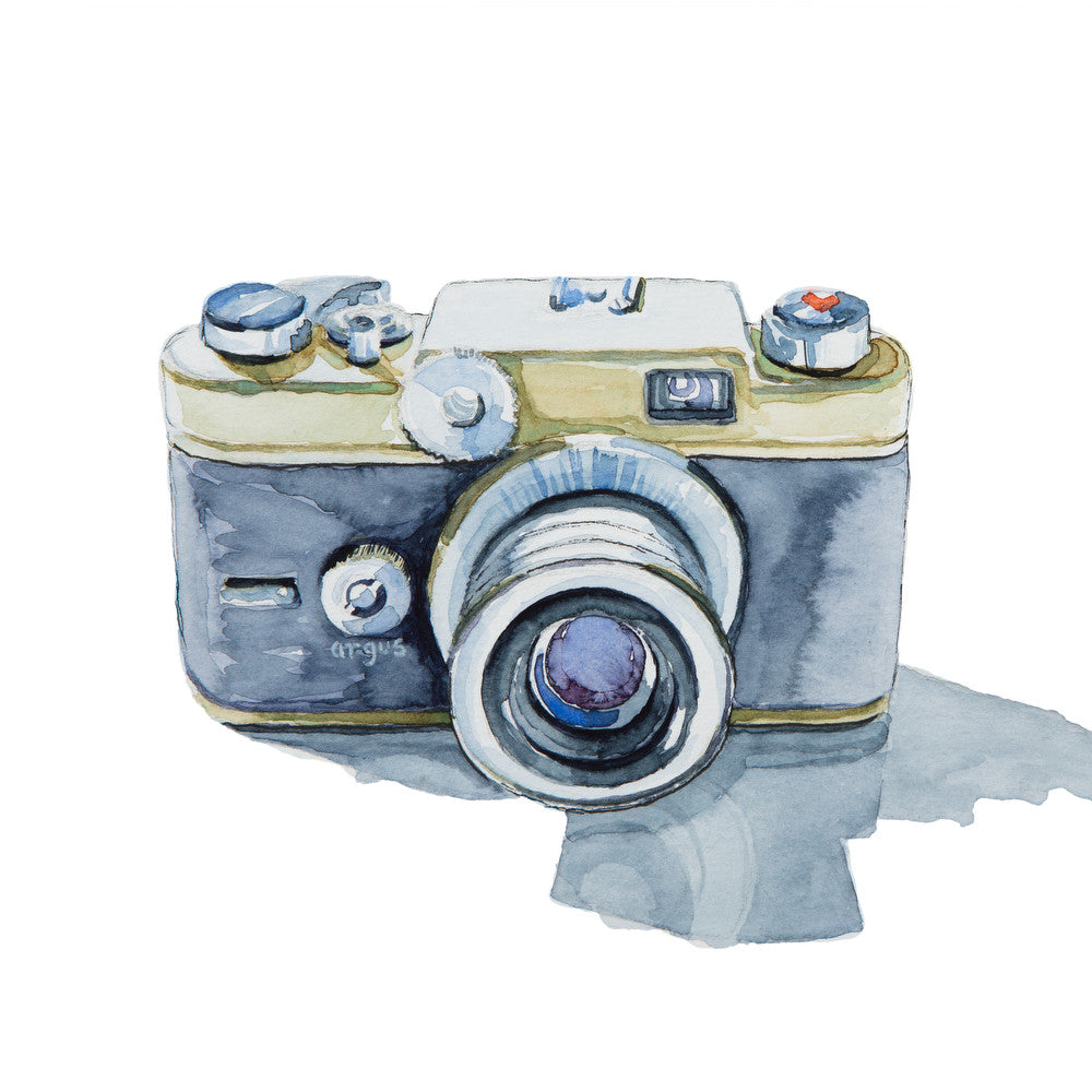 print collection argus c forty four 35mm camera watercolor painting. Black Bedroom Furniture Sets. Home Design Ideas