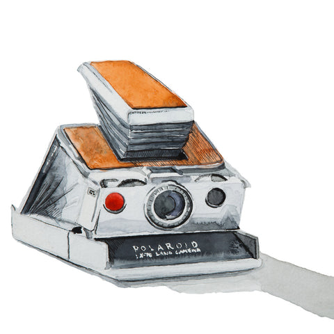 Polaroid SX-70 Camera, Watercolor Painting