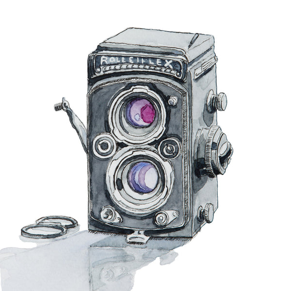 Rolleiflex 2.8E Camera, Watercolor Painting