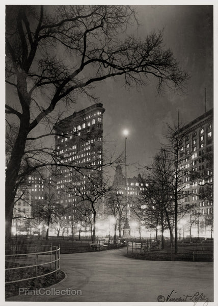 Eternal Light and Flatiron Building at Night