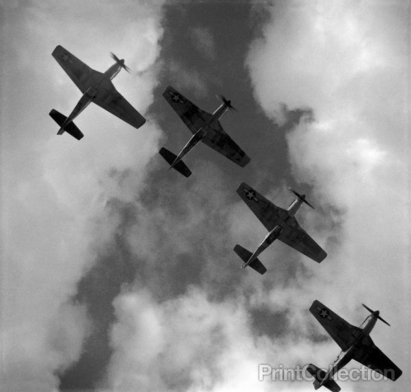 Four P-51 Mustangs Flying in Formation, Italy