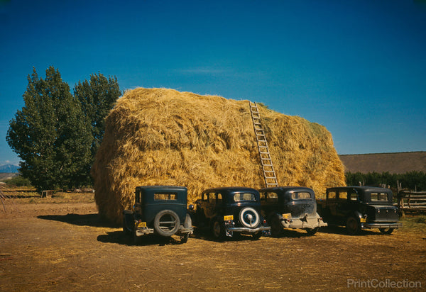 Hay Stack and Automobiles, 1940