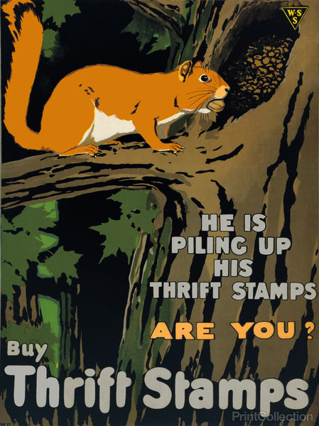 He is Piling up his Thrift Stamps - Are You?