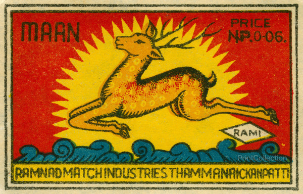 Leaping Deer of India Safety Match Label