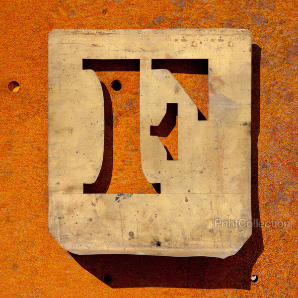 "Letter ""F"" Copper Type Stencil"