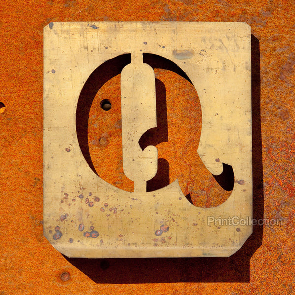 "Letter ""Q"" Copper Type Stencil"