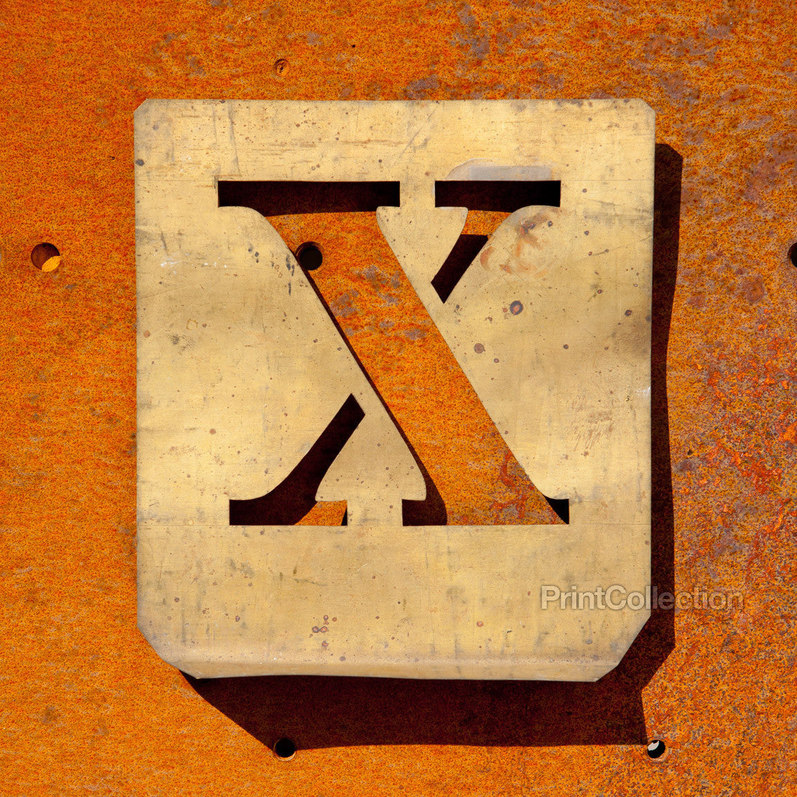 Print Collection Letter Quot X Quot Copper Type Stencil