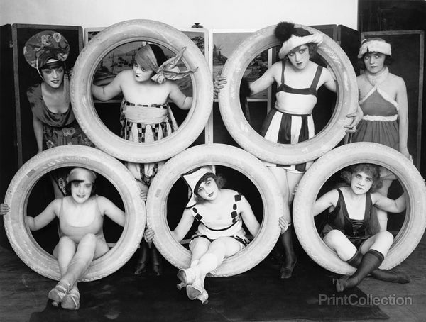 Mack Sennett Girls in Costumes Posed with Tires