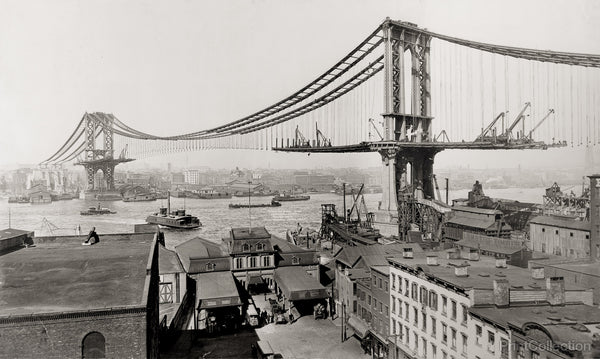 Manhattan Bridge Under Construction