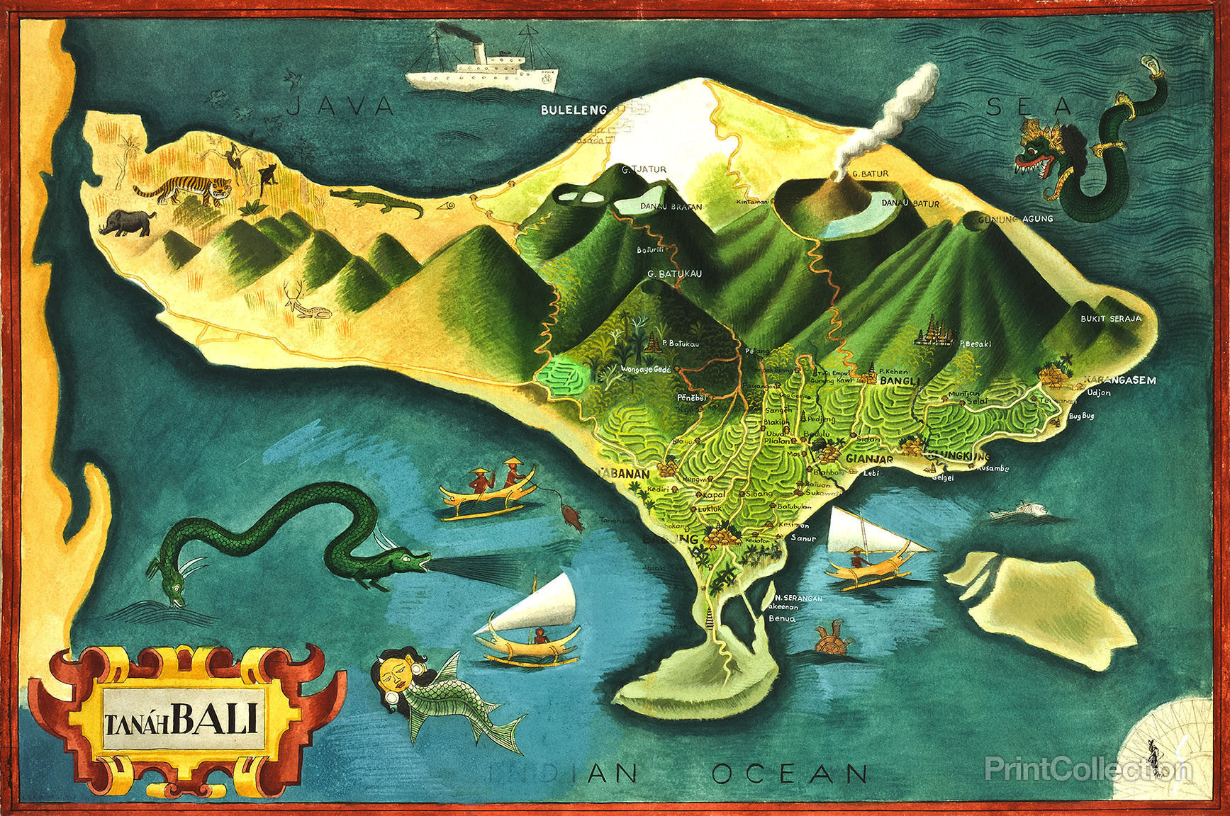 map of bali. print collection  map of bali