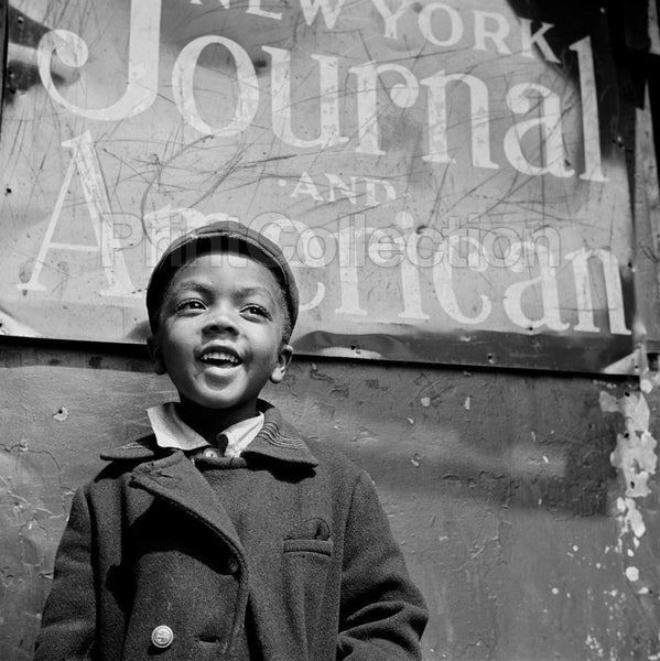 New York, New York. Harlem Newsboy