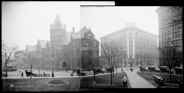 Public Library on left, Lafayette Hotel on right at Lafayette Square, Buffalo, N.Y.
