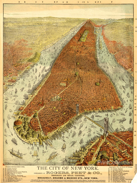 Rogers, Peet & Co. Aerial Map of Manhattan in 1879