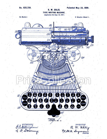 Type Writing Machine, Patented 1899