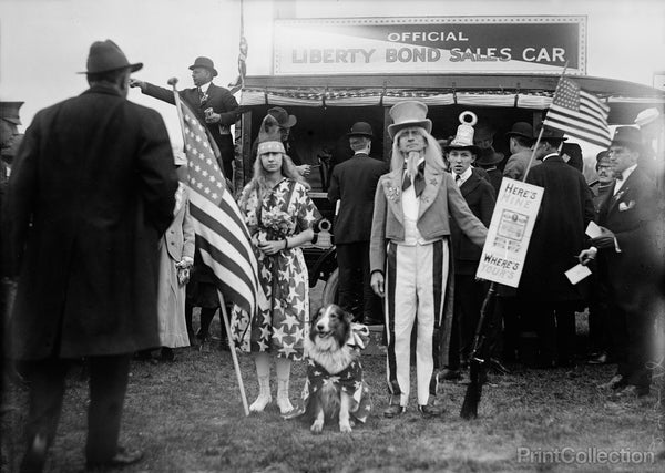 Uncle Sam with Patriotic Girl and Dog