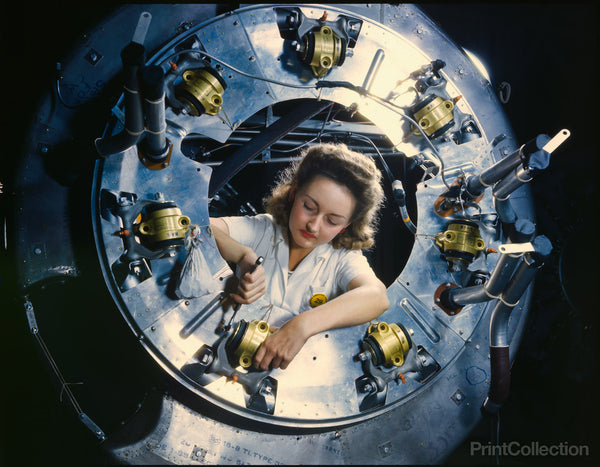 Woman Worker Assembling a B-25 Bomber