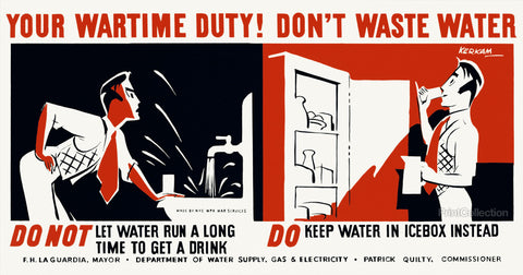 Your Wartime Duty! Don't Waste Water Do Not Let Water Run...