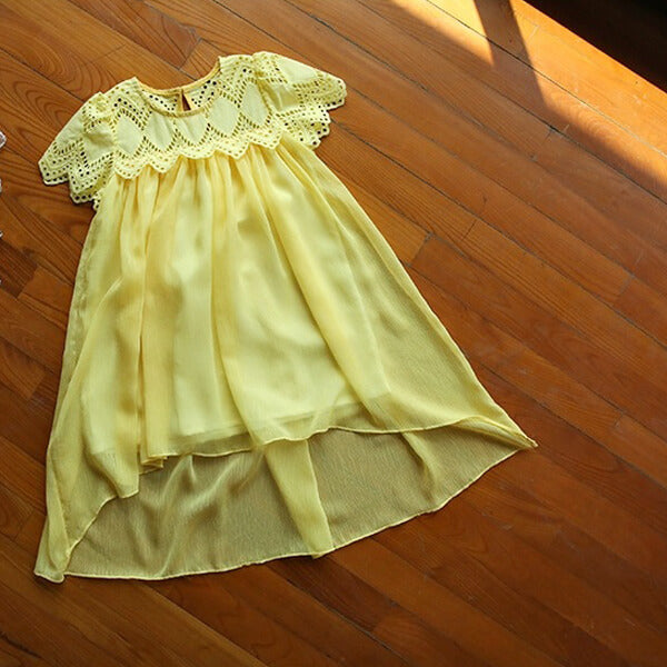 yellow short sleeves dress for girls