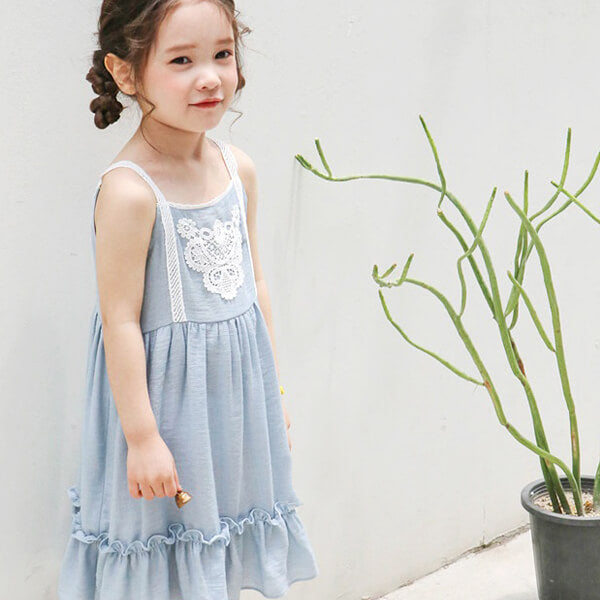 blue sleeveless dress for girls