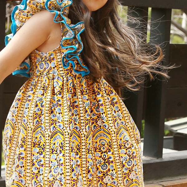 summer yellow floral dress for girls