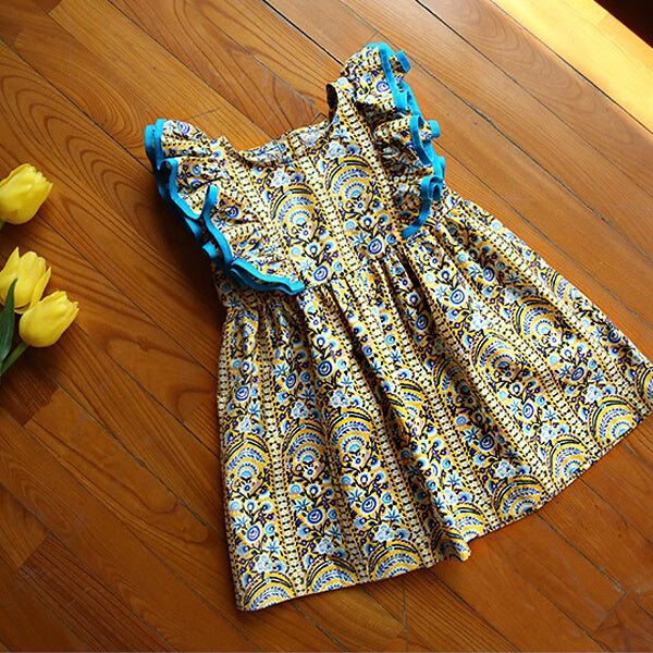 sleeveless cotton floral dress for girls
