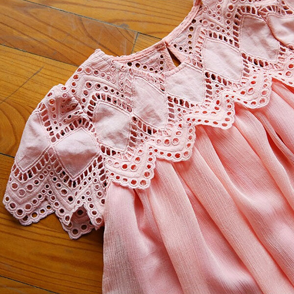pink short sleeves dress