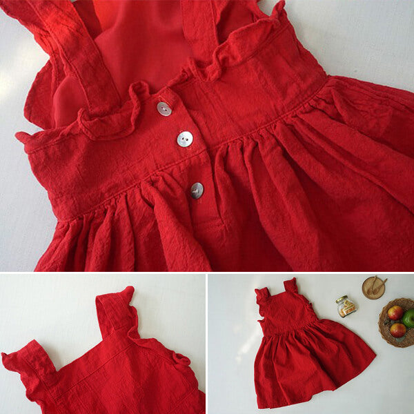 summer casual red dress for girls
