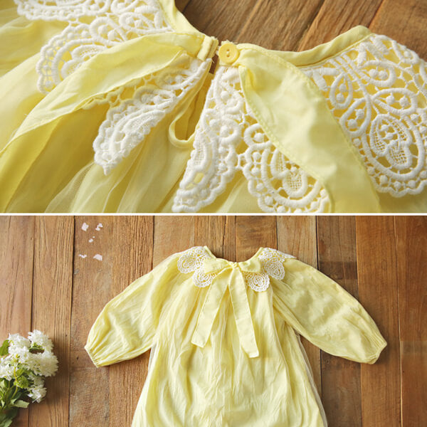 girls cute mini yellow dress