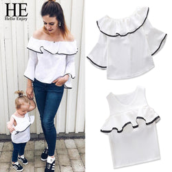 White Shoulderless Flare Sleeve T shirt for Family Look
