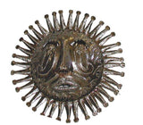 "10"" Haitian Haitian Recycled Metal Steel Drum Sun Face in Natural - Handmade in Haiti"