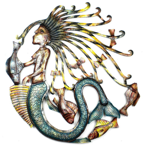 25 inch Hand Painted Mermaid - Handmade in Haiti