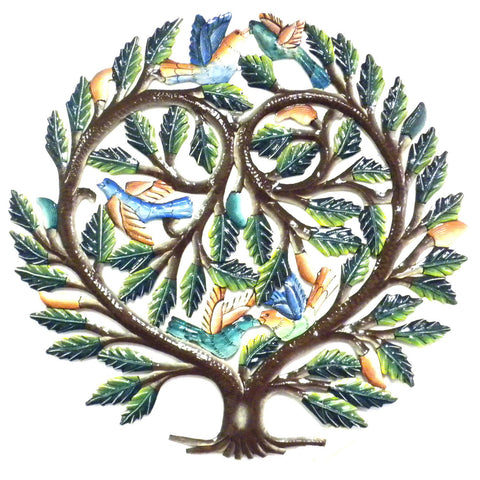 24 inch Hand Painted Tree of Life Heart - Handmade in Haiti