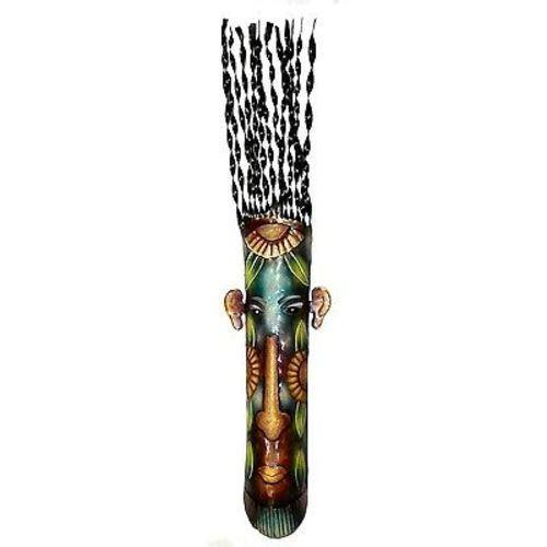Hand Hand Painted 34-inch Tall Haitian Recycled Metal Mask - Handmade in Haiti