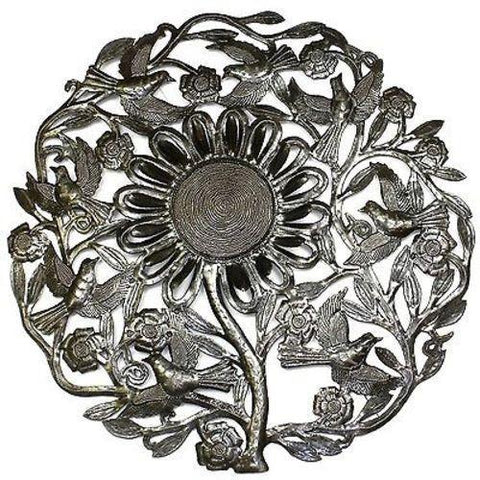Sunflower and Birds Haitian Recycled Metal Wall Art 24-inch Diameter - Handmade in Haiti