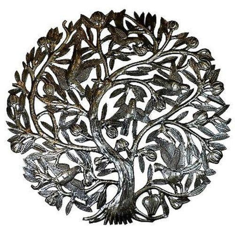 Tree of Life with Buds 24-inch Haitian Recycled Metal Wall Art - Handmade in Haiti