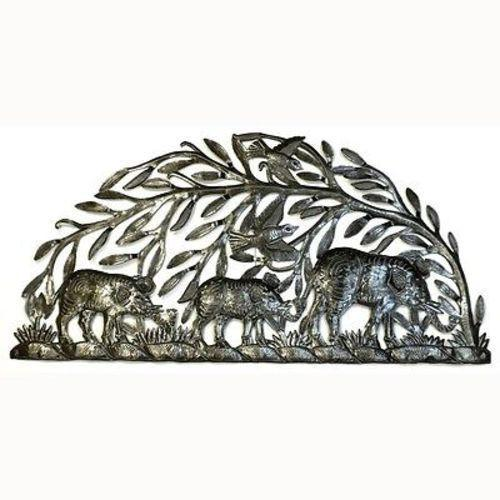 Steel Drum Art - Semi Circle Elephants - Handmade in Haiti