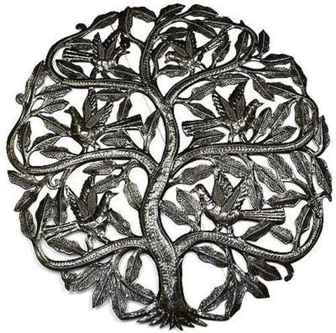 Tree of Life Birds Ready to Fly Haitian Recycled Metal Wall Art 24-inch Diameter - Handmade in Haiti