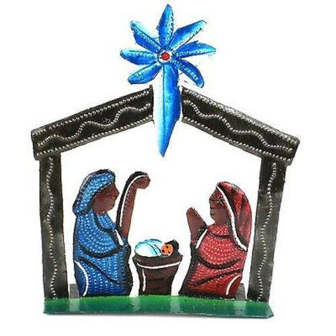 Standing Table Top Hand Painted Nativity  - Handmade in Haiti