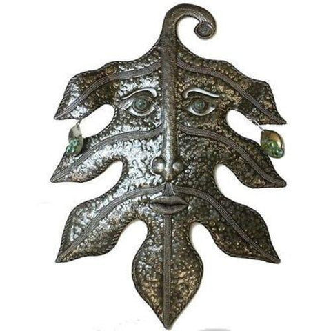 Recycled Steel Drum Art - Green Man Design - Handmade in Haiti
