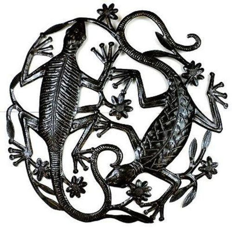 24 inch Haitian Recycled Metal Art Two Geckos - Handmade in Haiti