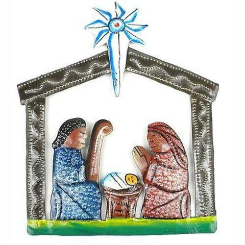 Mini Hand Painted Recycled Steel Drum Nativity Scene  - Handmade in Haiti
