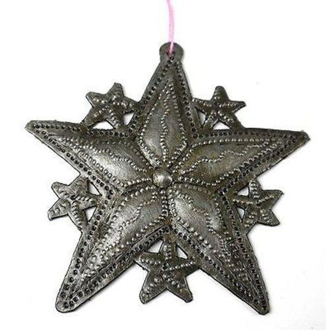 Stars Design Steel Drum Ornament  - Handmade in Haiti