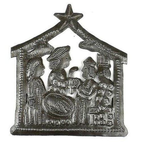 Small Recycled Steel Drum Nativity Scene  - Handmade in Haiti