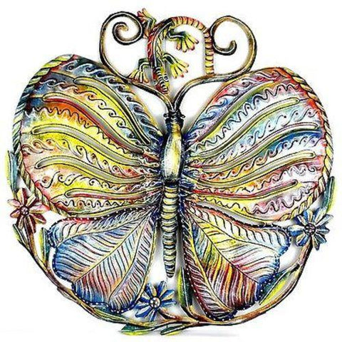 24-Inch Hand Painted Butterfly and Gecko Haitian Recycled Metal Wall Art - Handmade in Haiti