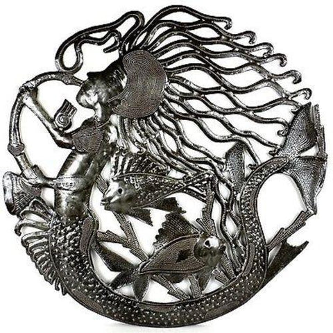 24-Inch Musical Mermaid Haitian Recycled Metal Wall Art - Handmade in Haiti