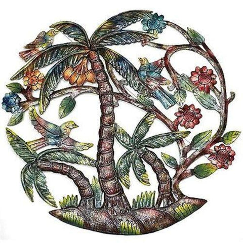Colorful Palm Trees Hand Hand Painted Haitian Recycled Metal Wall Art - Handmade in Haiti